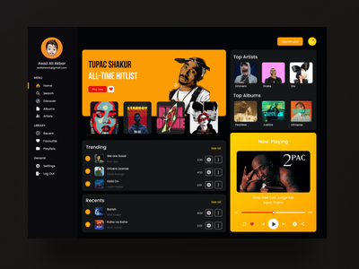 Music Dashboard UI Concept trendy new popular shot trend popular uiux dark dashboard ui dashboad minimal ui