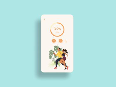 Countdown Timer timer sport jogging illustration 2d flatdesign uiux 014 dailyui ui