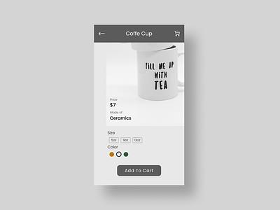 Product Customize Page grey coffee dailyui 2020 customization product cart ui