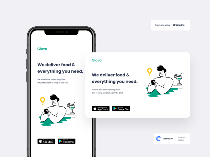 Glovo Mobile Content | Creatly.art creative design app illustration clean flat design mobile creatly creative character branding art