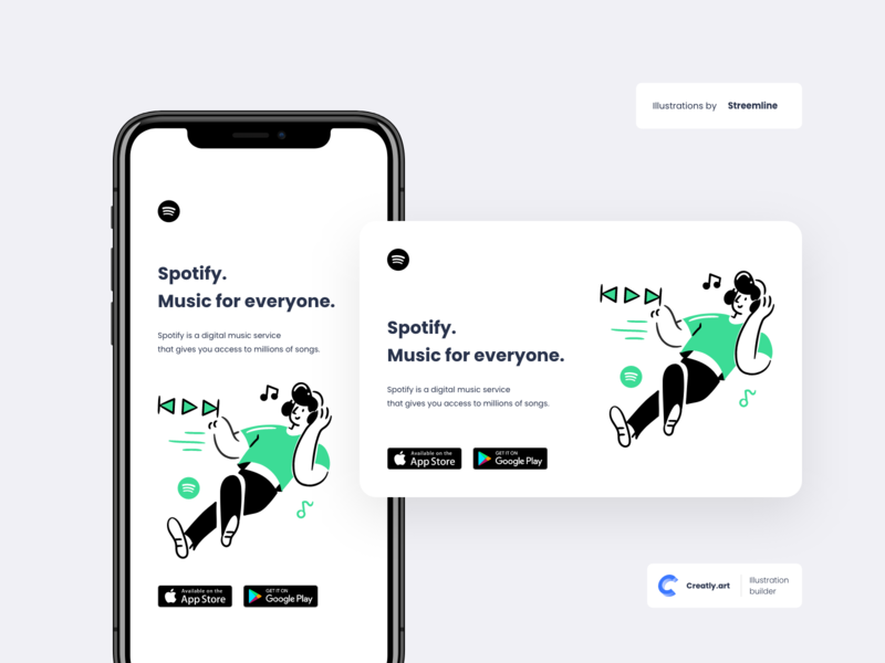 Spotify Mobile Content | Creatly.art app design spotify characters ux ui mobile ui app flat illustration design clean mobile creative character branding art creatly