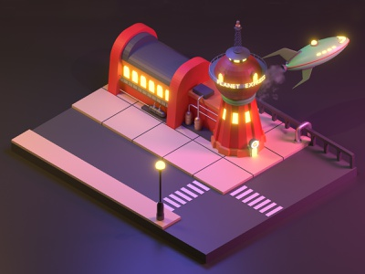 Isometric Futurama Planet Express 3d visual futurama 3d art blender 2.8