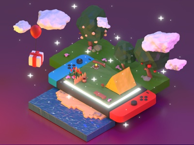Isometric Animal Crossing animal crossing blender 2.8 3d art