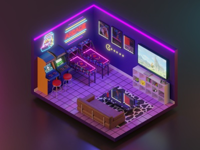 Isometric Arcade Room 3d visual arcade room blender 2.8 3d art