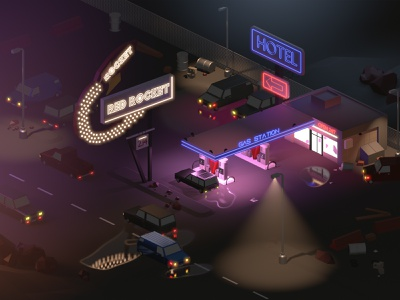 Isometric Gas Station Scene blender 2.8 3d art