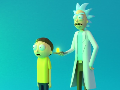 Rick and Morty 3D character modeling rick and morty 3d rick and morty blender 2.8 3d visual 3d art