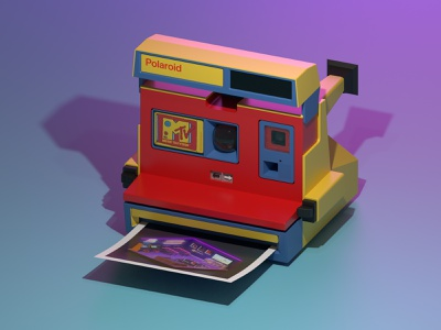 Polaroid MTV polaroid 3d visual blender 2.8 3d art