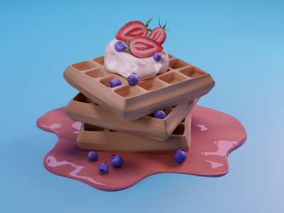 Waffels with berries in Blender food model food modeling food art 3d food 3d waffles waffles 3d visual blender 2.8 3d art