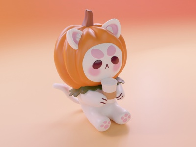 Pumpkin Cat 3d cat model 3d cat cat model cat art character modeling 3d visual blender 2.8 3d art
