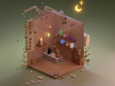 Potion Shop 3d shop modeling 3d shop 3d potion shop potion shop 3d potion 3d visual blender 2.8 3d art