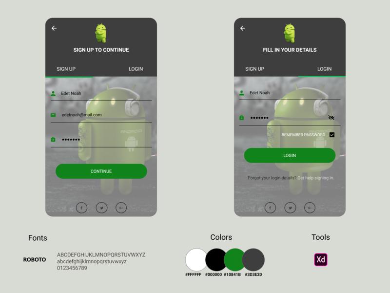 Android Mobile Login/Sign up Screen andriod uiux app ux branding ui design