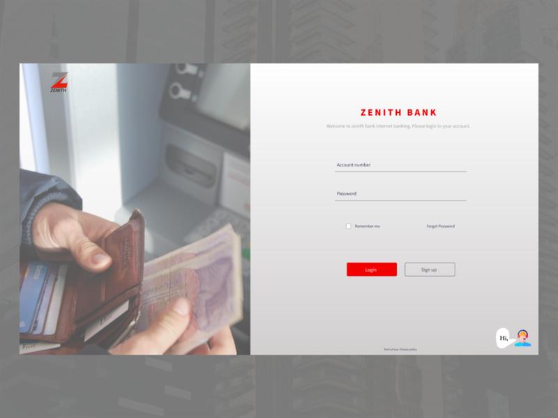 Zenith Bank Login Screen Redesign interface banking internet banking design dailyui ui