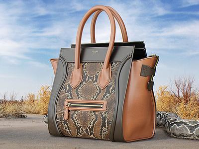 Photorealistic 3D illustration of Celine Luggage Bag purse accessory luxury fashion product snake leather celine luggage bag 3d model 3d