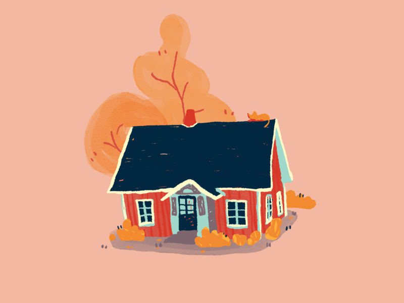 Quick Little House autumn cute design small flat illustration