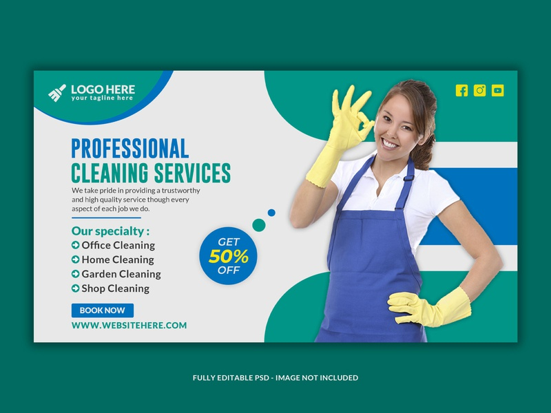 Cleaning Service  instagram banner template Premium Psd
