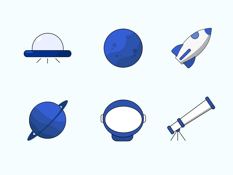 "Icons ""Space"" telescope rocket planet alien space blue art flat web logo icon vector illustration"