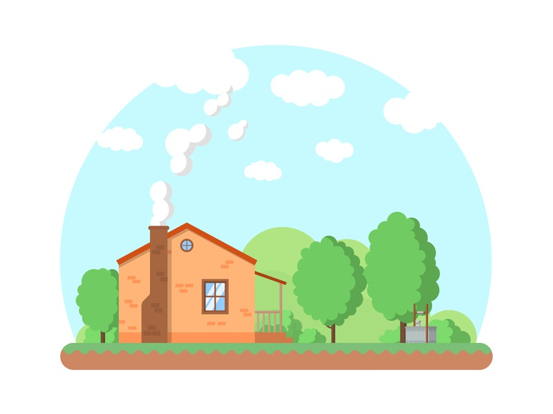 House cloud blue green tree well house vector flat minimal illustration
