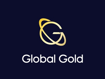 global gold flat icon vector minimal logo