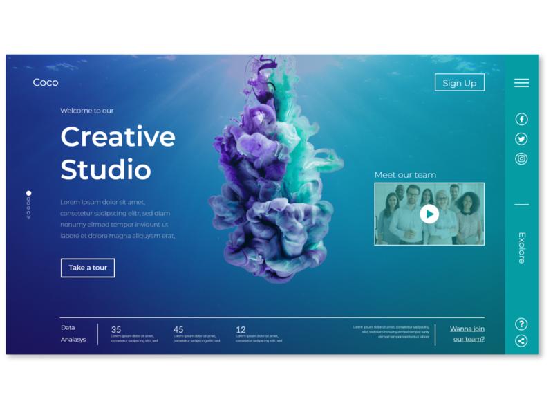 Creative Studio website - Landing page creativity creative design creative logo web typography landing page ui vector ui illustrator illustration design branding abstract