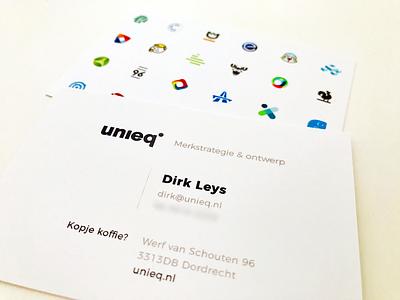 New business cards for unieq logo design branding agency branding logo businesscard