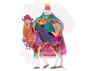 Wise Man colour bible stories christian bethlehem illustration camel three kings christmas nativity