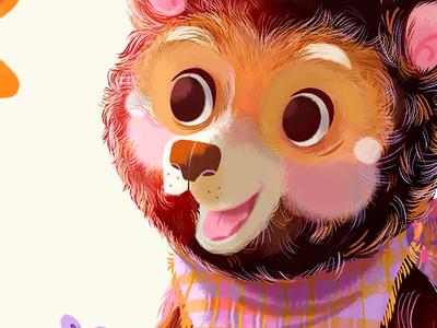 Little Bear Blu fur tartan teddy bear nursery art fairytale childrens illustration goldilocks three bears bear illustration little brown bear