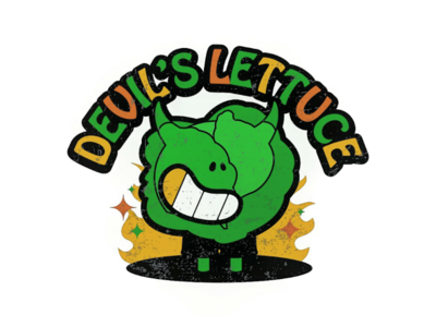 the DEVIL'S lettuce vectordesign logodesign logo coreldraw corel tshirtillustration tshirtdesign merchdesign merch vintagedesign streetwear cartoonist cartoon illustrator illustration graphicdesigner graphicdesign