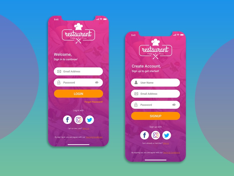Log in/Sign up page Design for Restaurant Apps ios apps android apps social apps design android ios software signup signup page uiux ui log in log in page