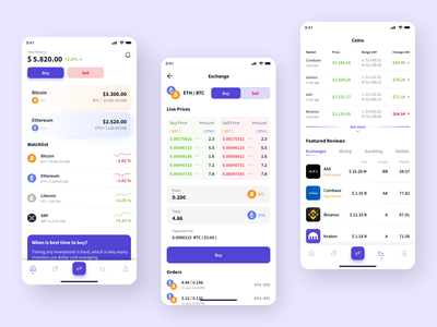 Cryptocurrency Exchange pricing sell buy crypto exchange crypto wallet cryptocurrency exchange bitcoin ethereum crypto design app mobile ux ui