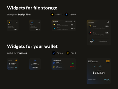 Widgets for IOS 14 balance transaction payment visa ui desgin finances banking storage figma sketch widgets