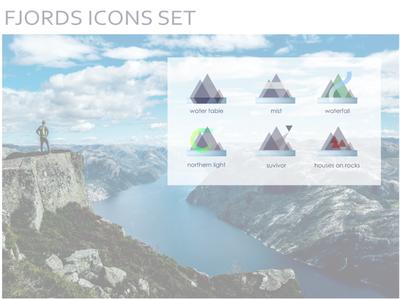 Icon set fjord theme website ux illustration web design ui icon