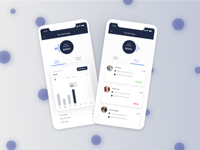 My Earnings ui design employees cleaners cleaning service interface design uiux ui