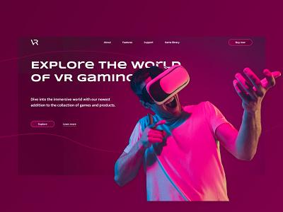 VR Gaming virtual reality gaming webflow design ui gradient web development web gradient web design virtual reality vr gaming