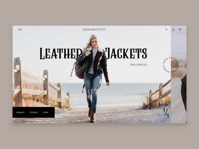 Saakey.com- The Leather Clothing Company clothing brand jeans beige clothing leather jackets leather clothing webflow landing page web design