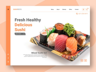 UI Design - Sushi Resto sketch frigma figmadesign figma ui design ui design app adobe xd adobexd