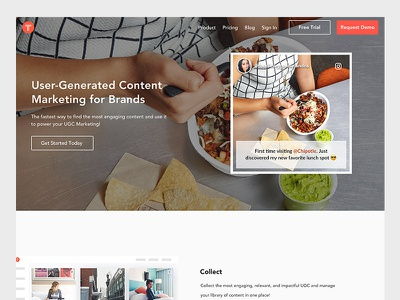 Product Page social post web design web webpage marketing user generated content startup ugc homepage product product page