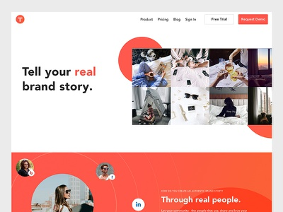 New TINT Homepage webpage web design user generated content web ugc startup social post product page product b2b marketing homepage
