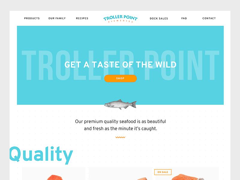 eCommerce Site for a Fishing Company salmon fishing fish flat homepage webpage web design web ecommerce