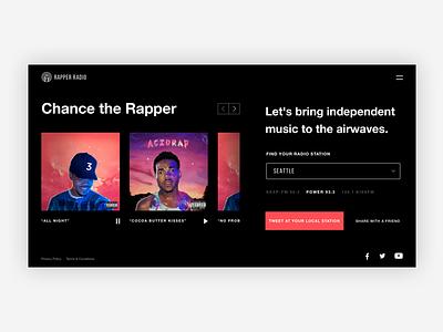 Rapper Radio (work in progress) radio streaming bold sonos spotify apple album ui landing page music chance the rapper rapper radio