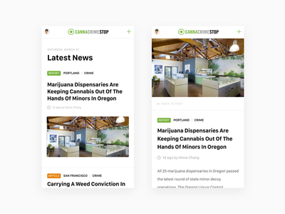 Cannabis Crime News Feed post text layout articles blog mobile ios ui feed editorial news cannabis
