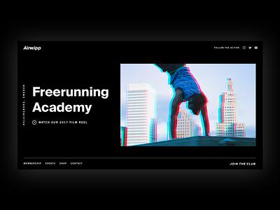 Airwipp Academy sports parkour website graphic design typography dark ui minimalist landing page brutalism