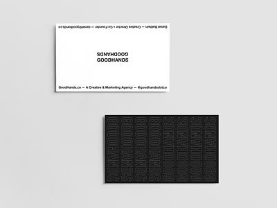 Good Hands Branding branding fashion agency off-white brutalism spot uv print minimalism business card