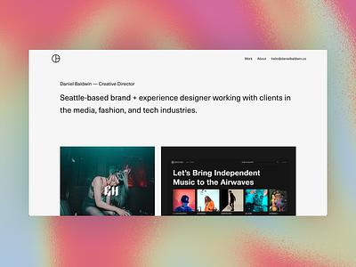 New site, who dis? homepage typography design ui minimalist branding minimal website portfolio texture iridescent gradient
