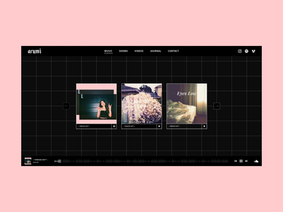 Artist Music Webpage minimal soundcloud portfolio ui website music player media player artist music dark grid blackletter