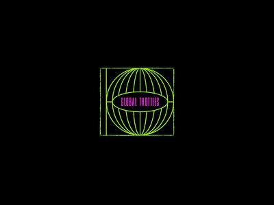 Logo for Global Thotties minimal music art cd simple neon brutalist brutalism branding icon music logo thot global globe
