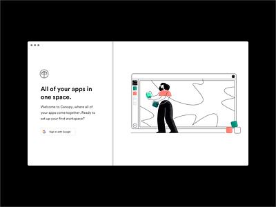 Sign In Screen branding black and white brutalist minimal product design ui landing page sign in desktop app web app character illustration