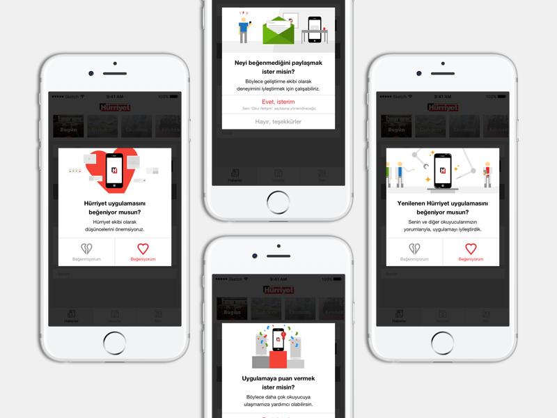 Hurriyet App - Puanlama & Yorum news app review feedback illustration hurriyet