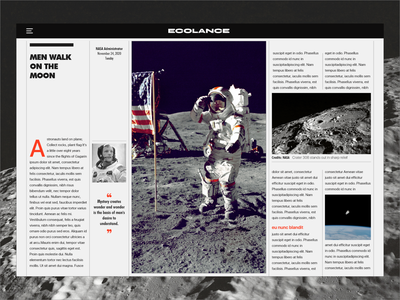 Man on the Moon webdesign product design brand design branding ui design blog design magazine design moon nasa photography article magazine xd uidesign