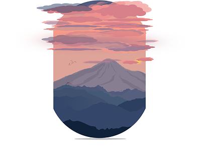 Mountain Sunset landscape illustration landscape mountain flat design