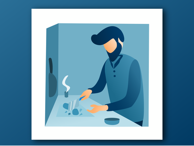 Cowok Masak sendirian illustration flat design memasak muslim ikhwan